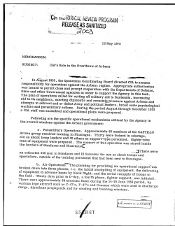 """""""CIA's Role in the Overthrow of Arbenz"""""""