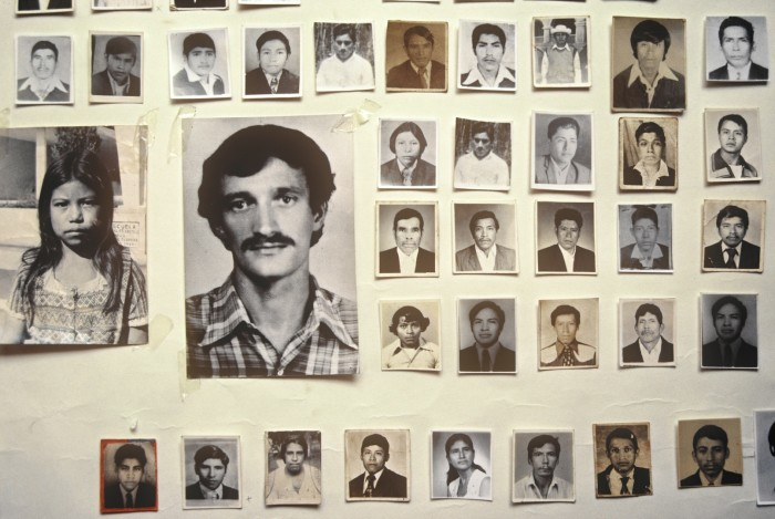 Photographs of disappeared relatives of members of the Mutual Support Group (GAM).