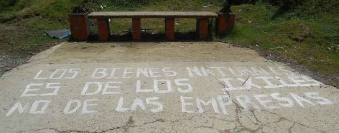 """Natural resources belong to the Ixil, not the companies."" Along the road outside Nebaj, Guatemala, 2012."