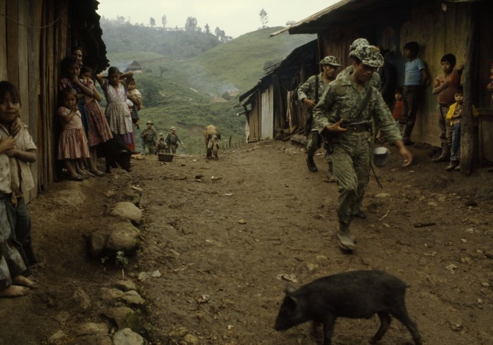 Army occupation of La Perla coffee plantation, Chajul, Quiché, Guatemala. Photo courtesy of Jean-Marie Simon.