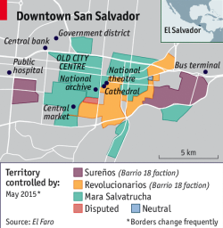 Map showing gang controlled territory in San Salvador.